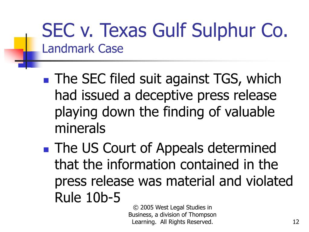 Texas gulf sulphur case study