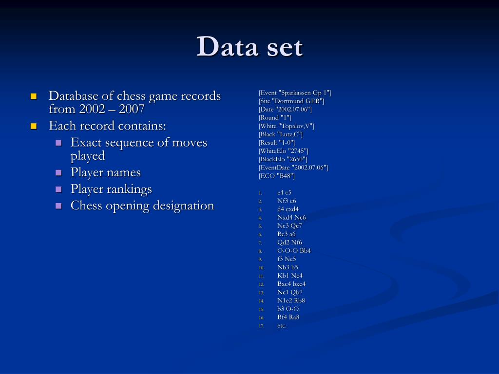 Database of chess game records from 2002 – 2007