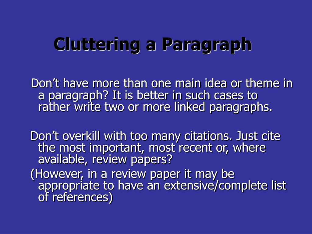 Cluttering a Paragraph
