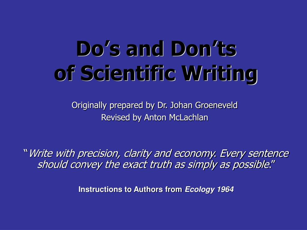 do s and don ts of scientific writing