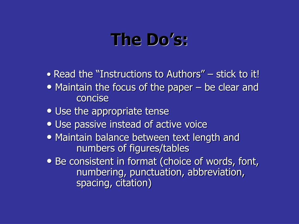 The Do's: