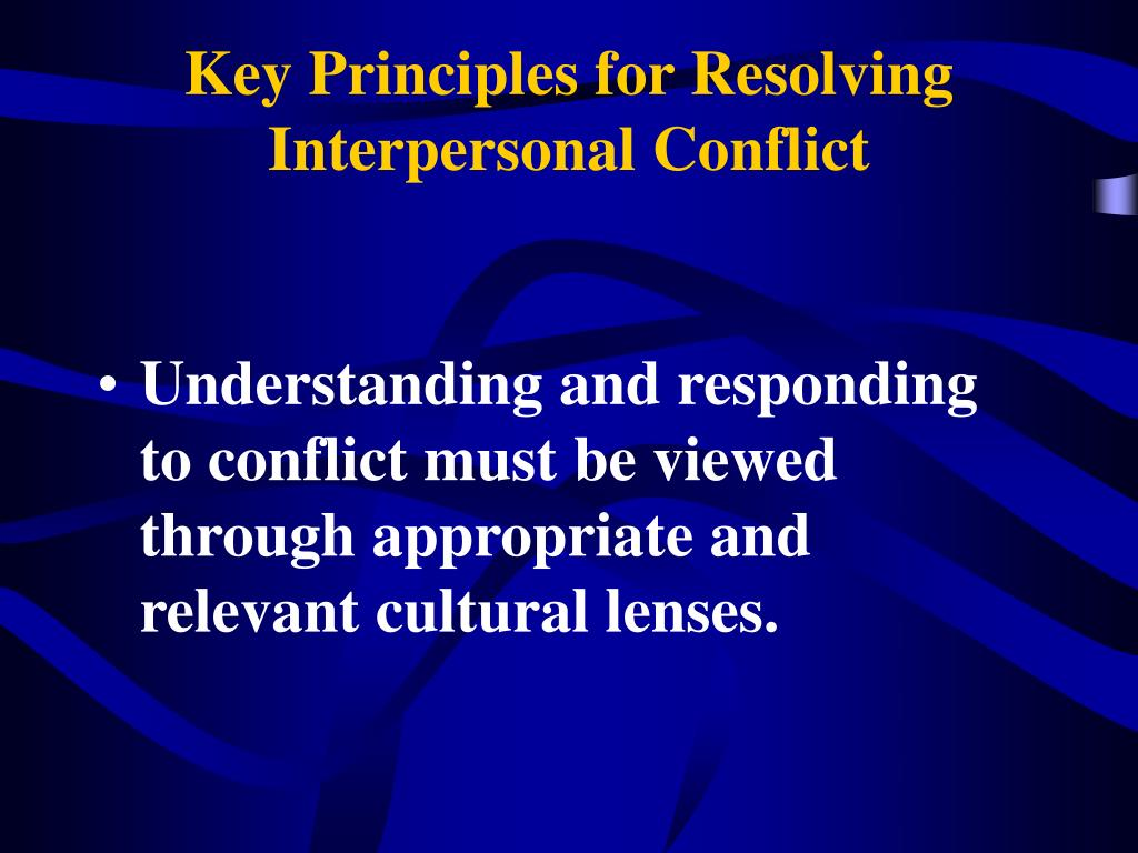 resolving interpersonal conflict The candidate describes the resolution of the conflict of these different versions of conflict interview show off your interpersonal skills and.