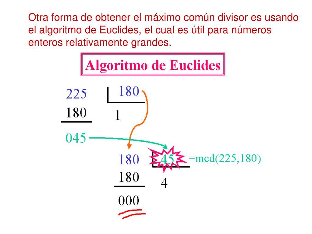 Otra forma de obtener el máximo común divisor es usando