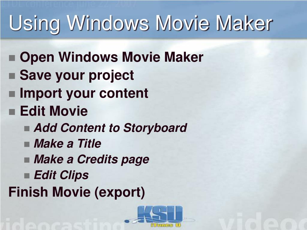Using Windows Movie Maker