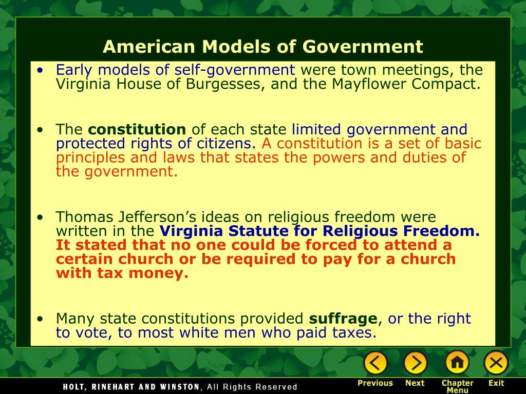 Early models of self-government