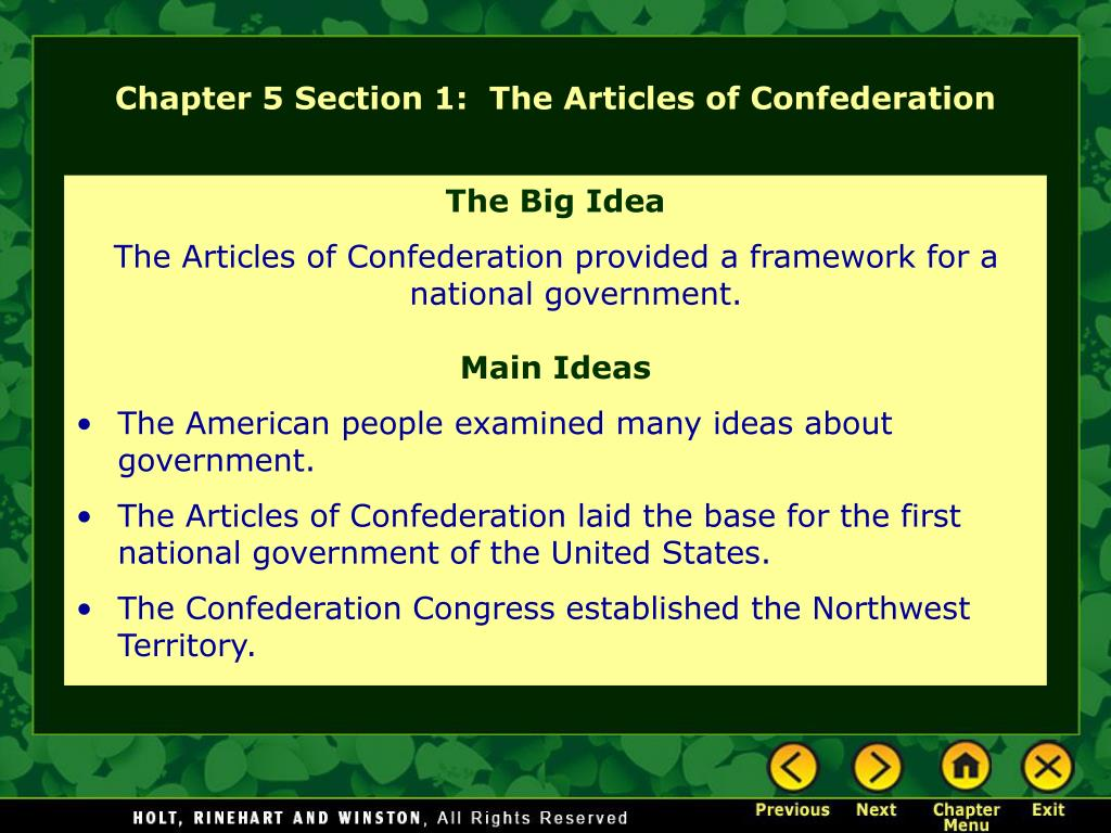 Chapter 5 Section 1:  The Articles of Confederation