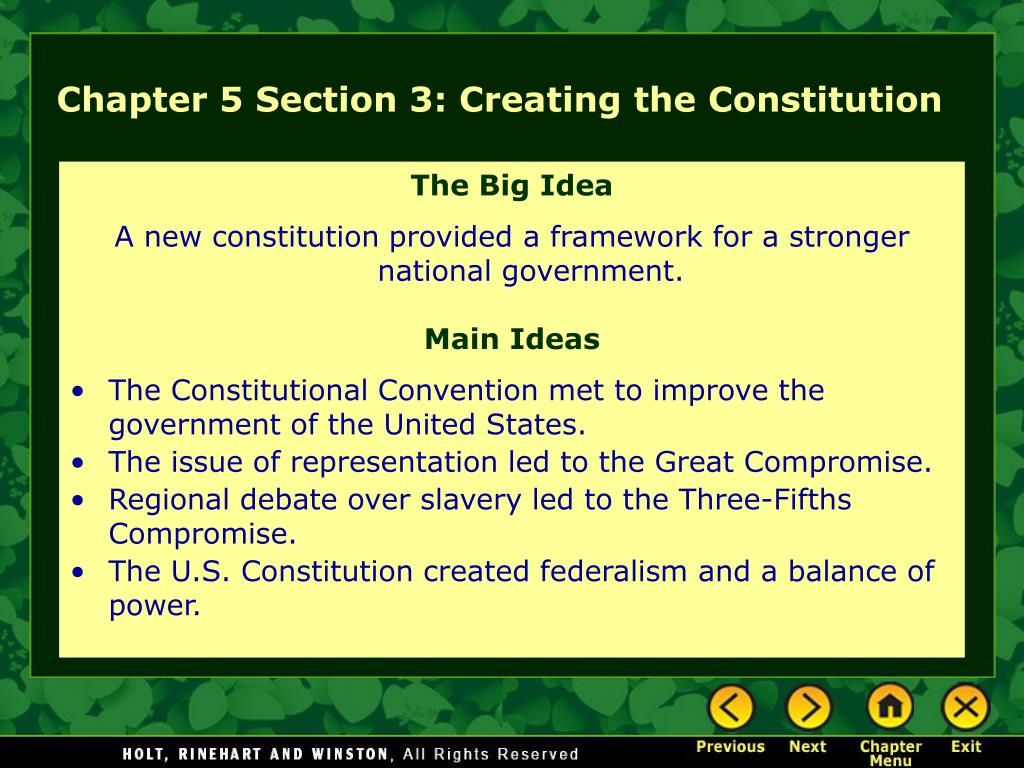 Chapter 5 Section 3: Creating the Constitution