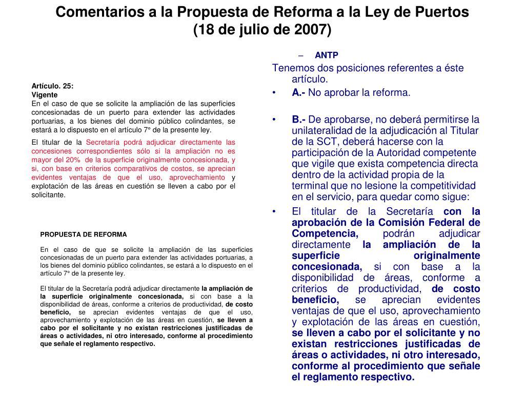 Comentarios a la Propuesta de Reforma a la Ley de Puertos