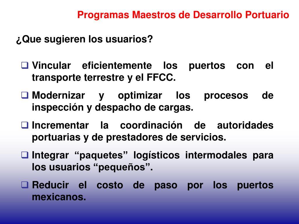 Programas Maestros de Desarrollo Portuario