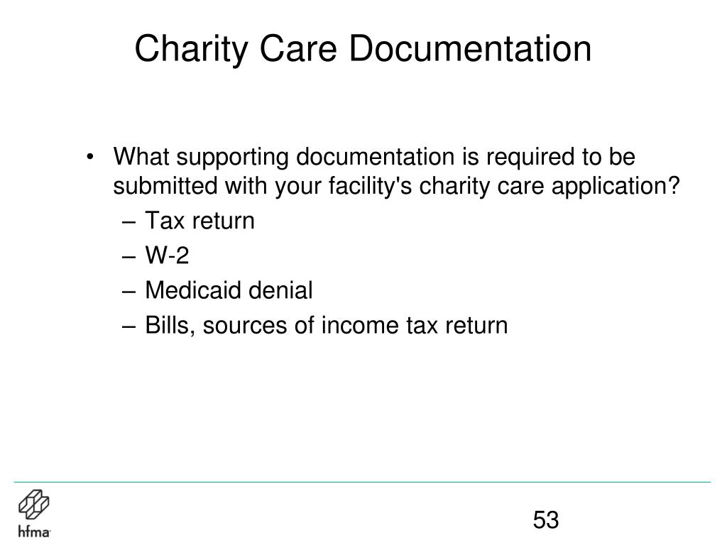 Charity Care Documentation