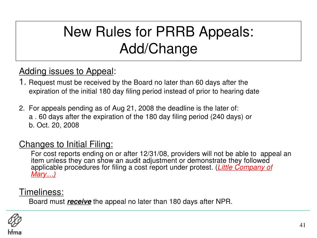 New Rules for PRRB Appeals: