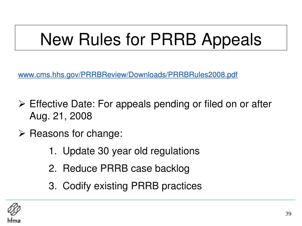 New Rules for PRRB Appeals