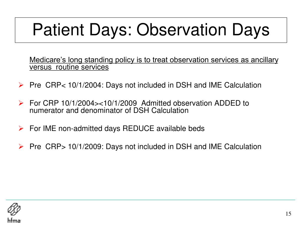 Patient Days: Observation Days