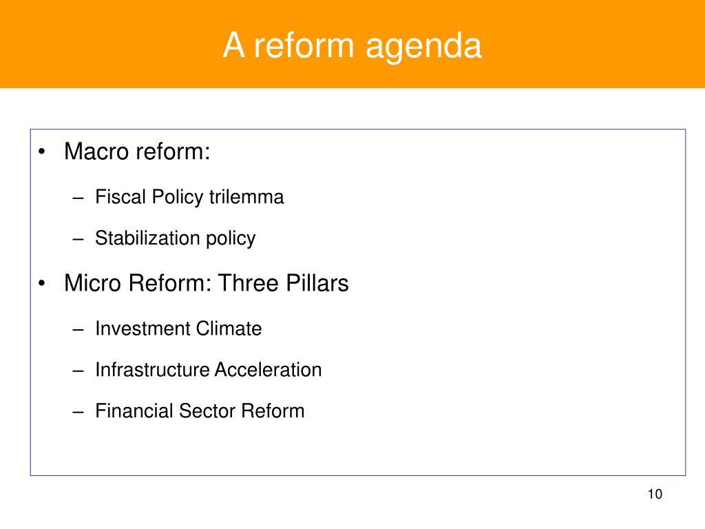 A reform agenda