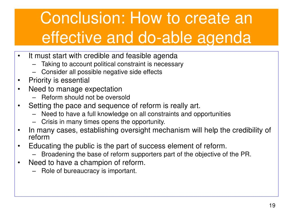Conclusion: How to create an effective and do-able agenda