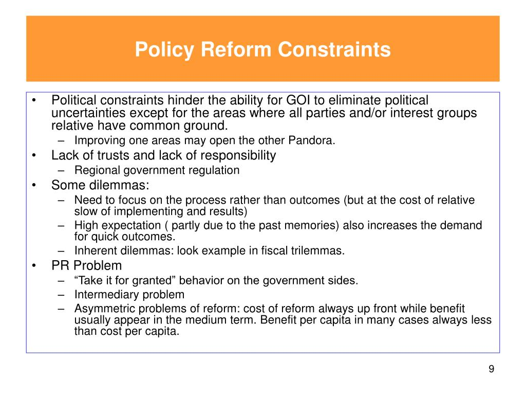 Policy Reform Constraints