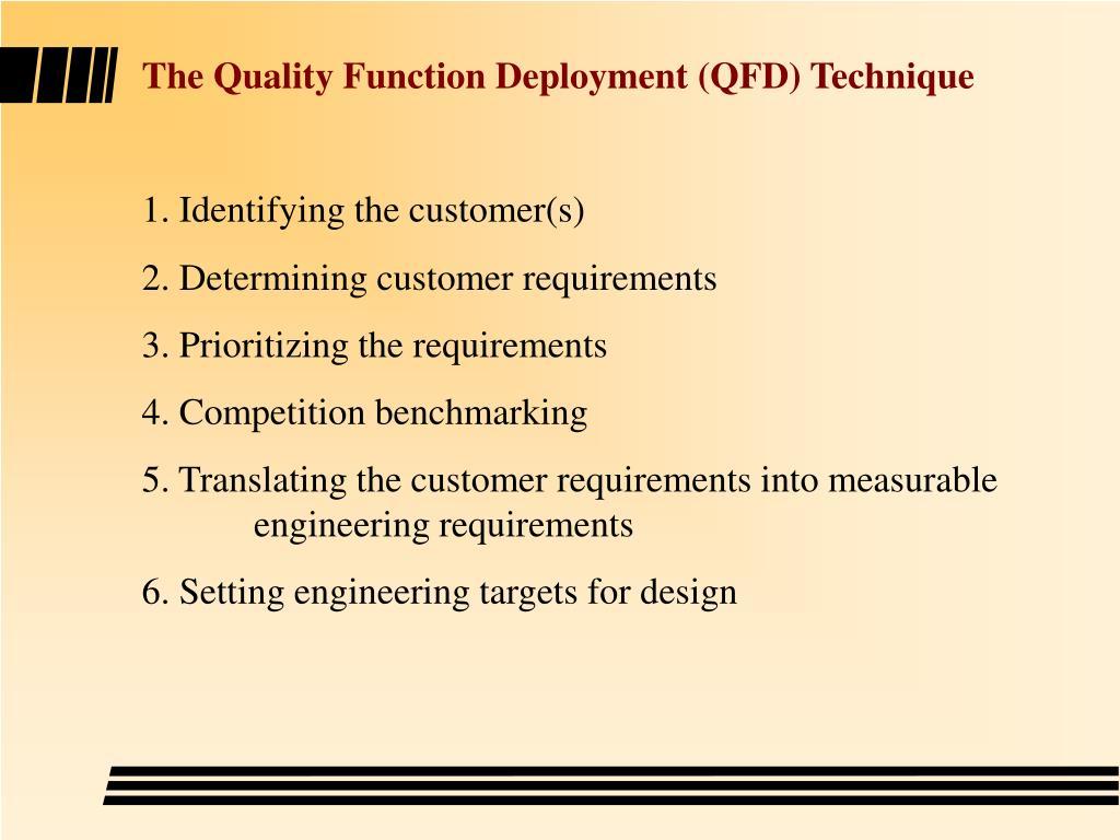 The Quality Function Deployment (QFD) Technique