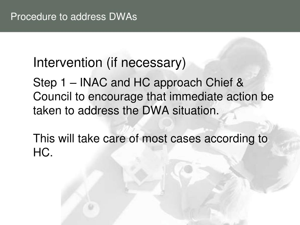 Procedure to address DWAs