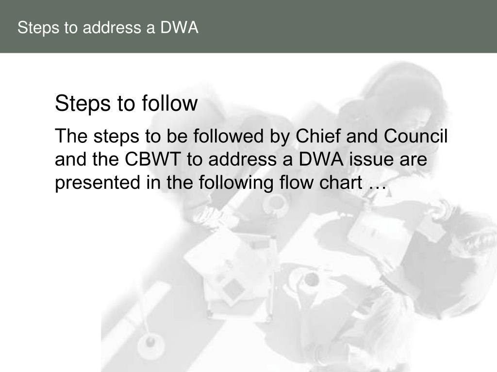 Steps to address a DWA