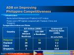 adb on improving philippine competitiveness