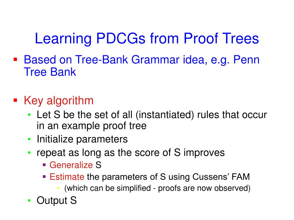 Learning PDCGs from Proof Trees