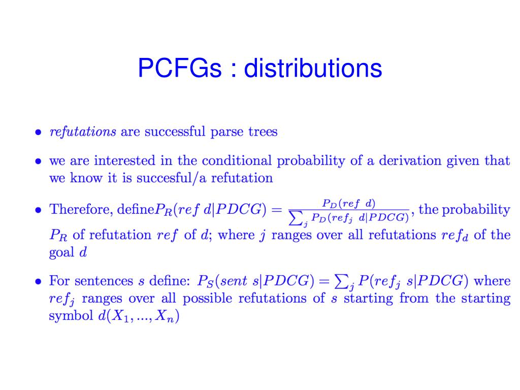 PCFGs : distributions