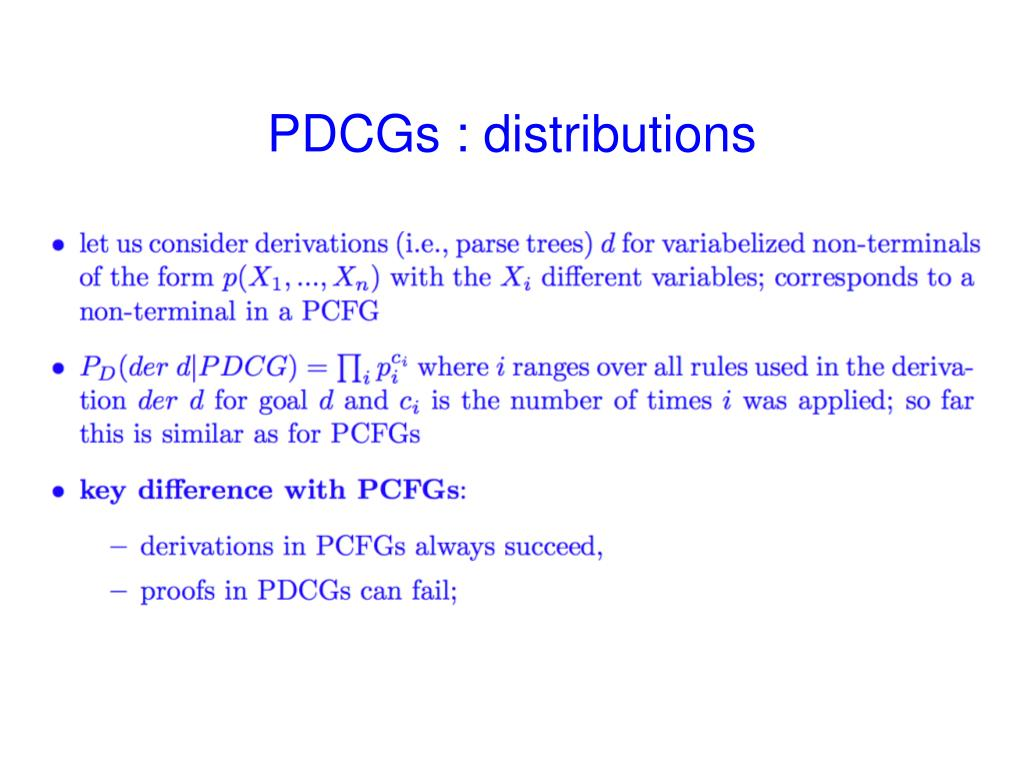 PDCGs : distributions