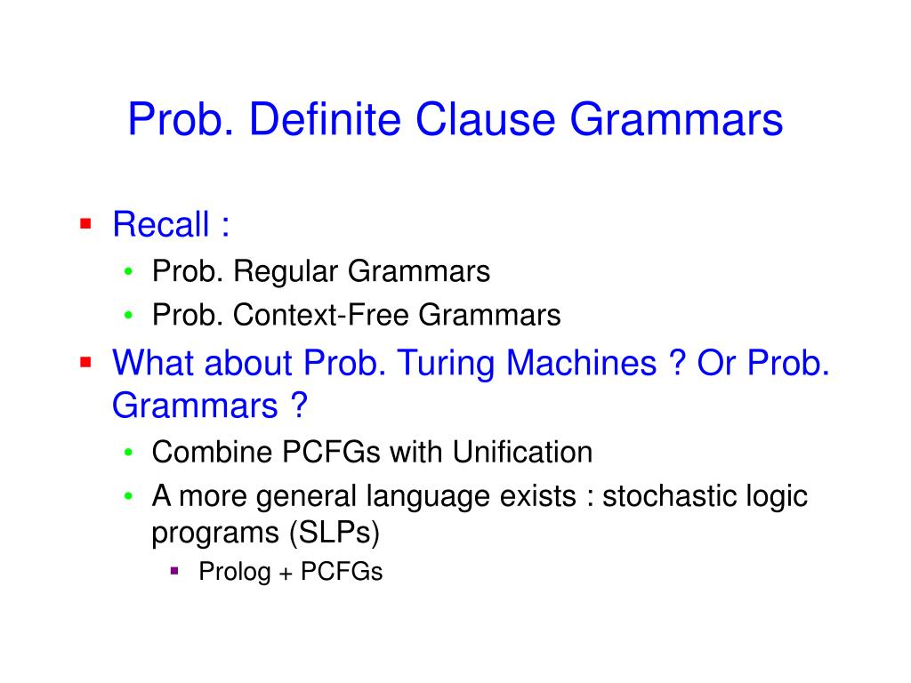 Prob. Definite Clause Grammars