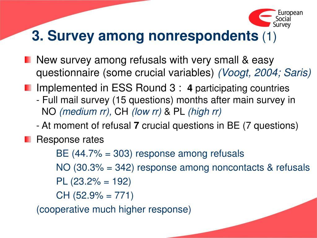 3. Survey among nonrespondents