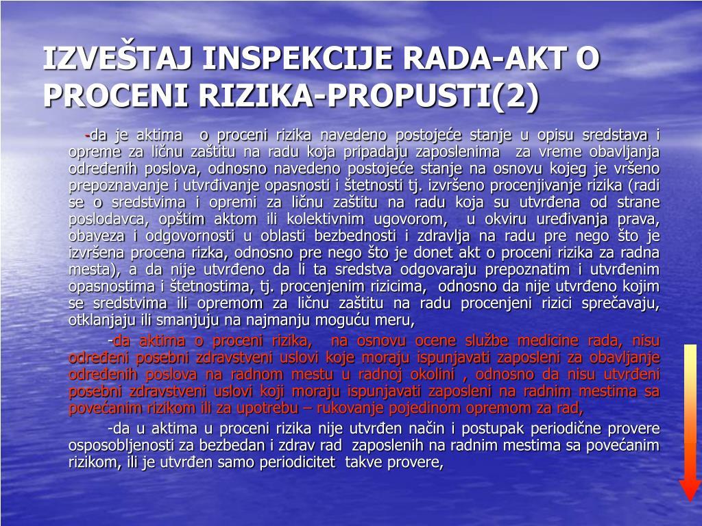 IZVEŠTAJ INSPEKCIJE RADA-AKT O PROCENI RIZIKA-PROPUSTI(2)