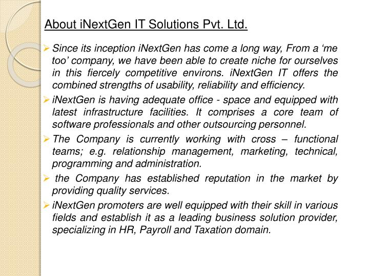 About inextgen it solutions pvt ltd