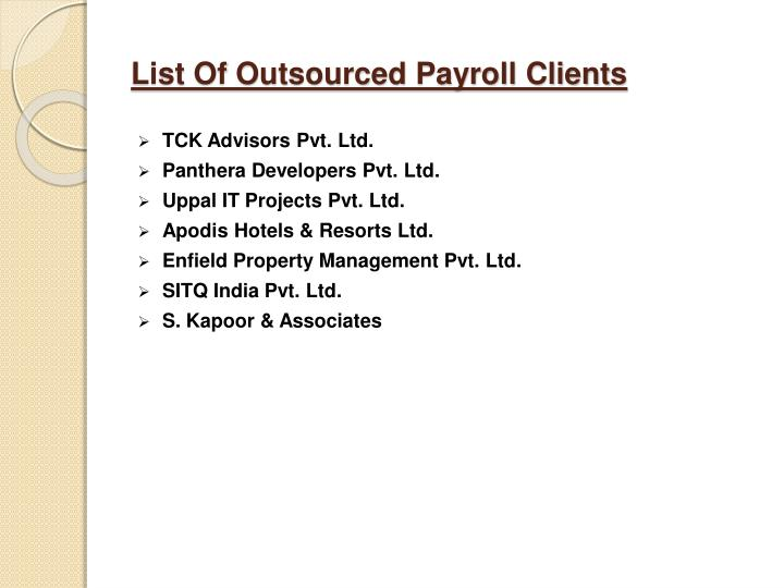 List Of Outsourced Payroll Clients