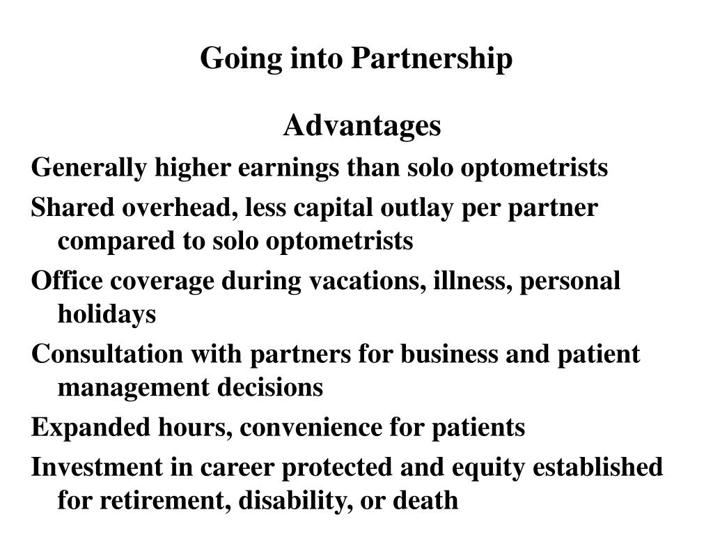 Going into Partnership