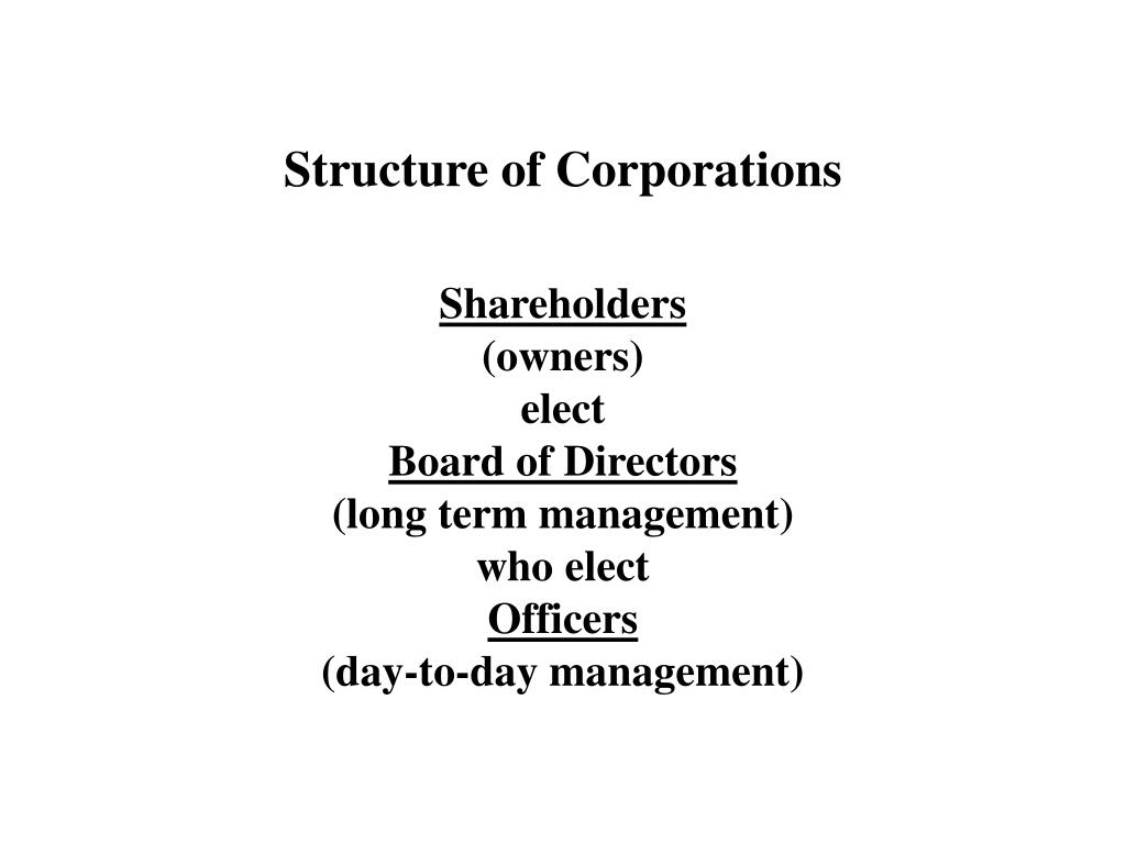 Structure of Corporations