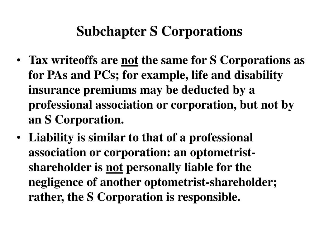 Subchapter S Corporations