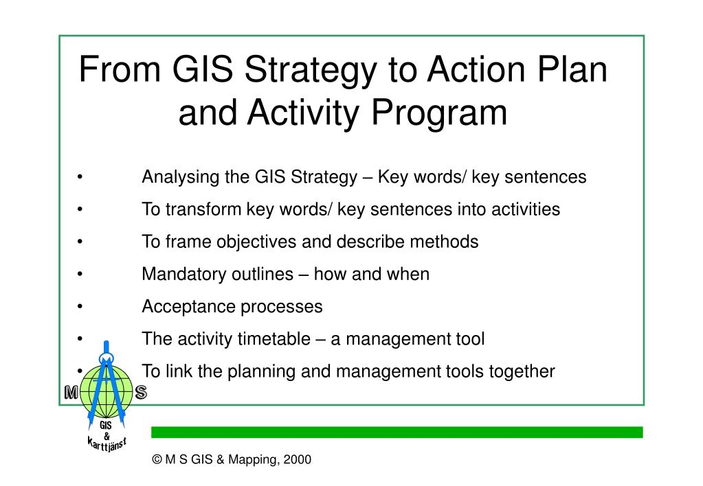 From GIS Strategy to Action Plan and Activity Program