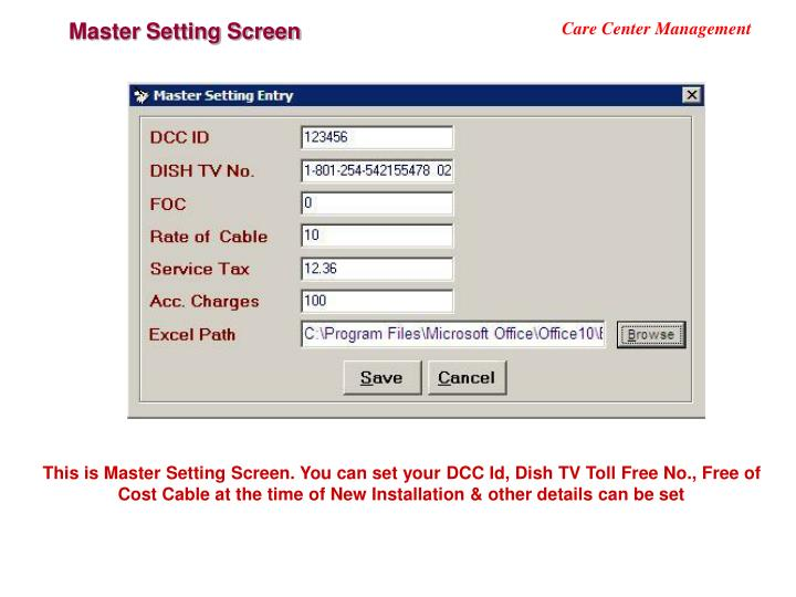 Master Setting Screen