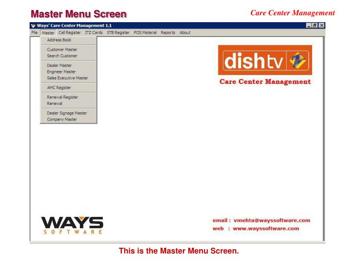 Master Menu Screen