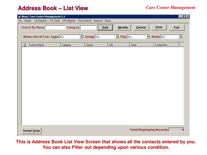 Address Book – List View
