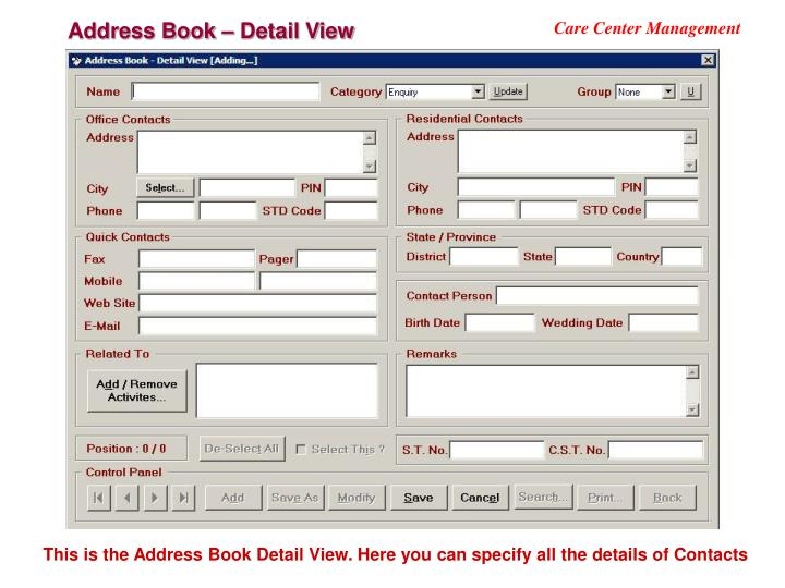 Address Book – Detail View