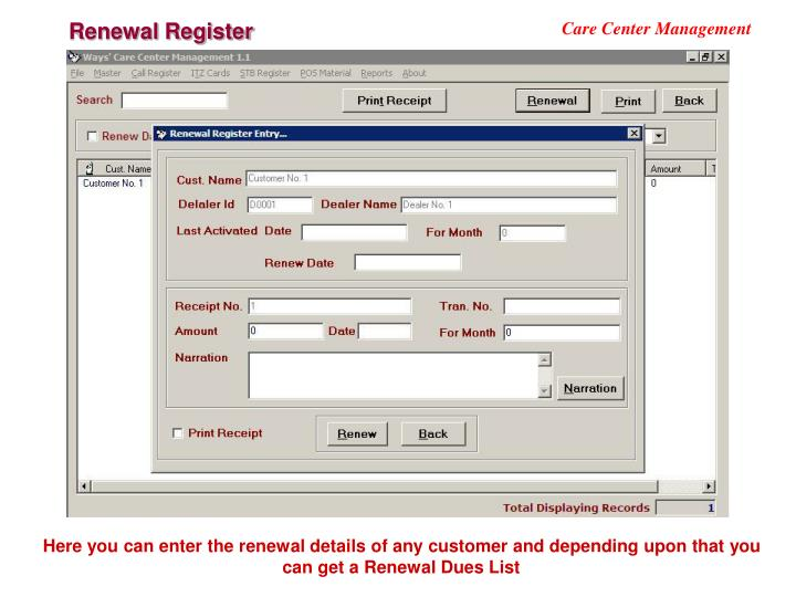 Renewal Register
