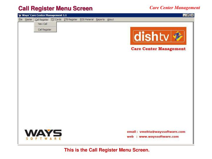 Call Register Menu Screen