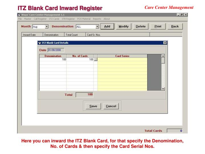 ITZ Blank Card Inward Register