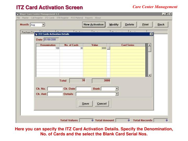 ITZ Card Activation Screen