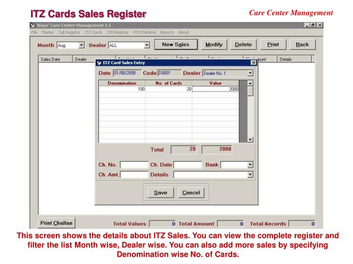 ITZ Cards Sales Register