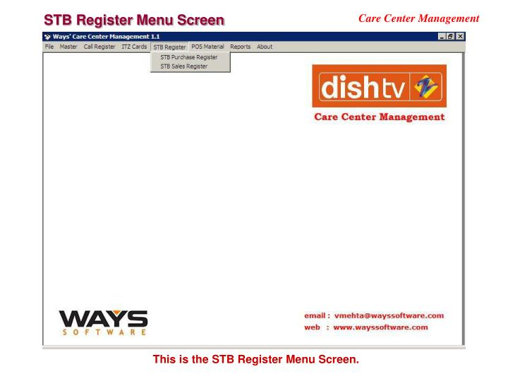 STB Register Menu Screen
