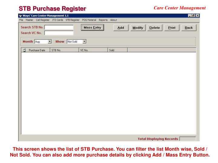 STB Purchase Register