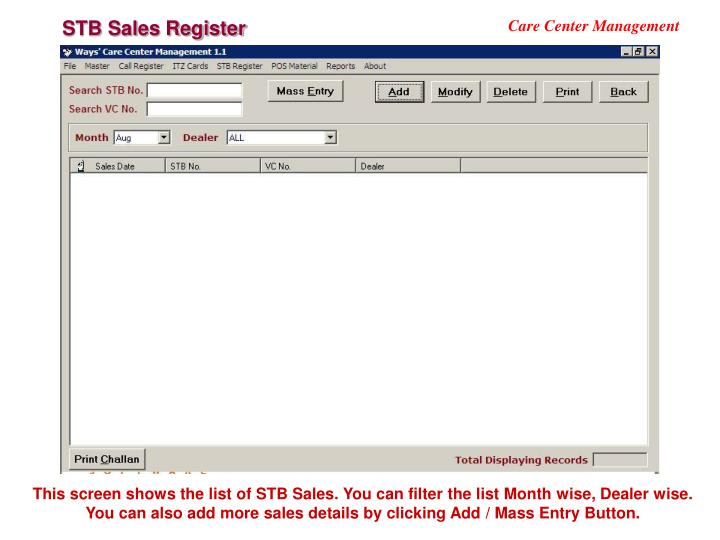STB Sales Register