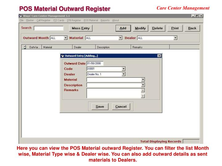 POS Material Outward Register