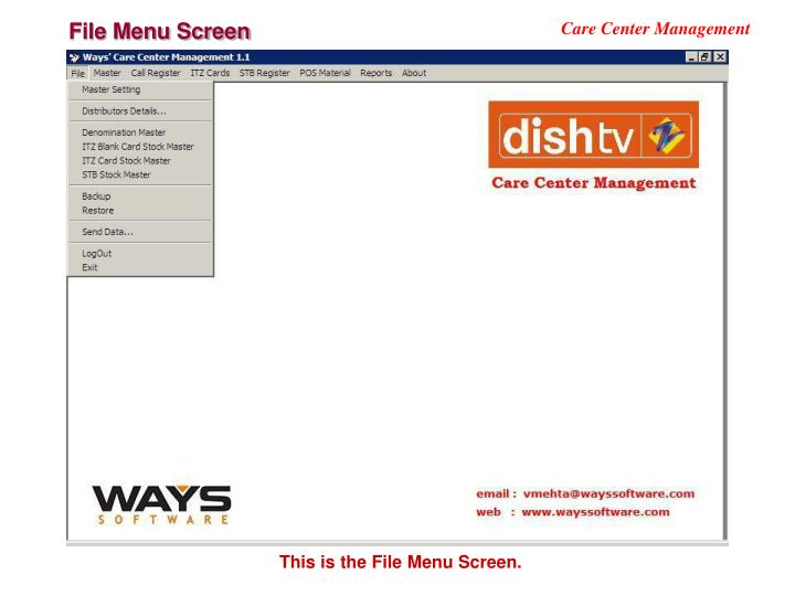 File Menu Screen